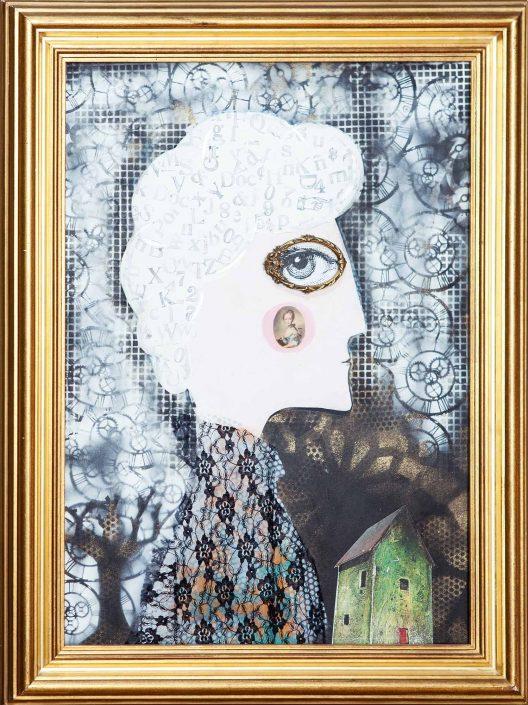 Pintura y collage de mujer