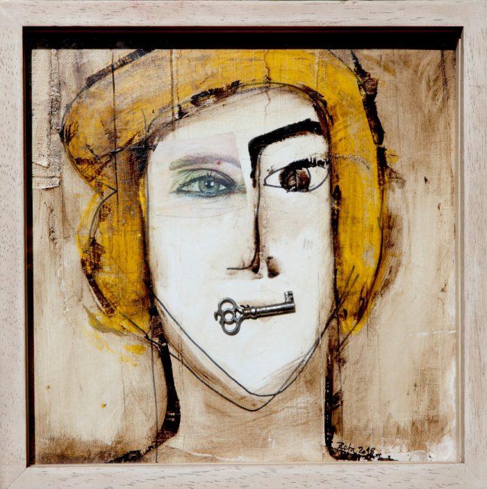 pintura de cabeza de hombre con una llave en la boca