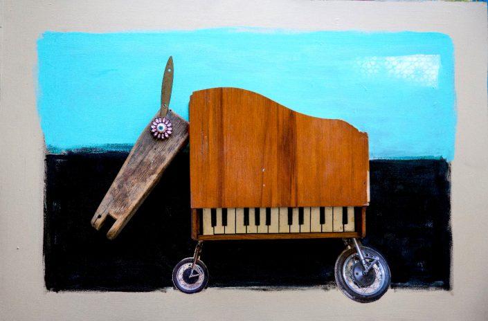 pintura y collage de perro hecho con cuerpo de piano