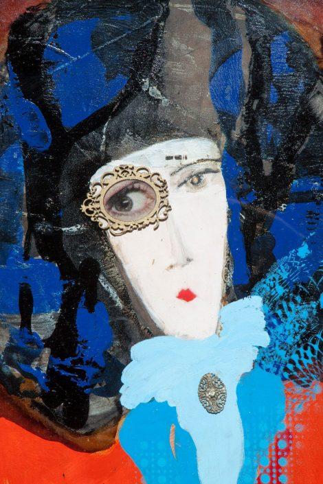 pintura y collage de mujer con marco ovalado en el ojo