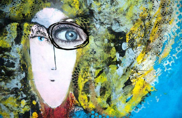 pintura y collage de cabeza de mujer