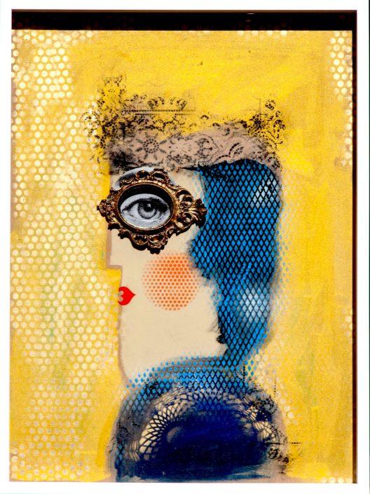 pintura de cabeza de mujer de perfil con collage de marco ovalado en los ojos