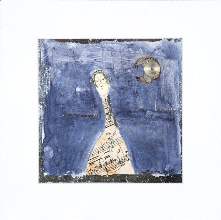 pintura y collage de persona con anteojos y vertido de partitura musical