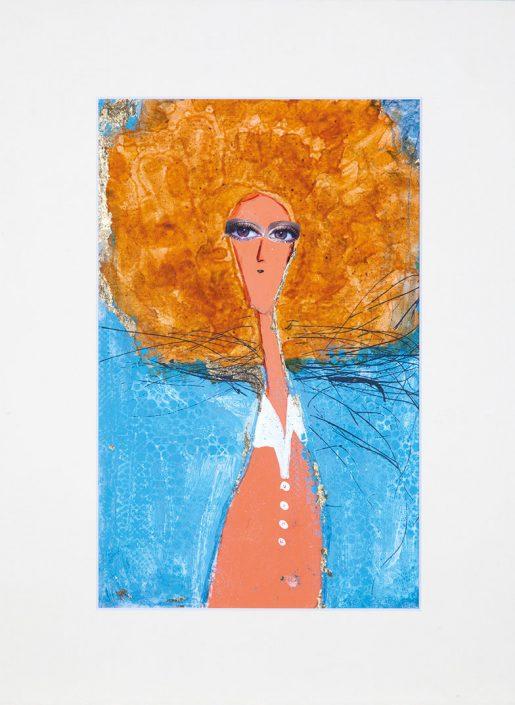 pintura de mujer con gran pelo naranja y fondo celeste, estilo modigliani