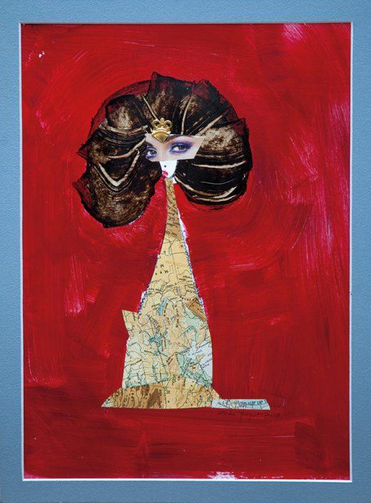 pintura con collage de un mapa como vestido de mujer con fondo rojo