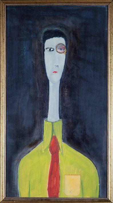 pintura de hombre con binocular como ojo, estilo modigliani