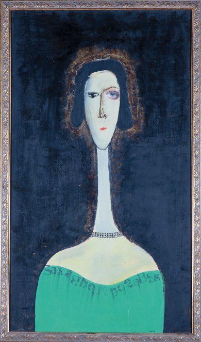 pintura de mujer hasta los hombros de vestido verde, estilo modigliani