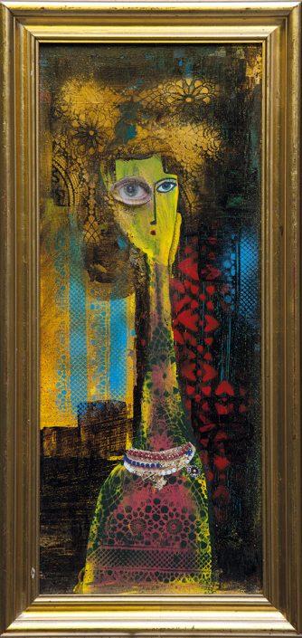 pintura con collage y stencil de mujer