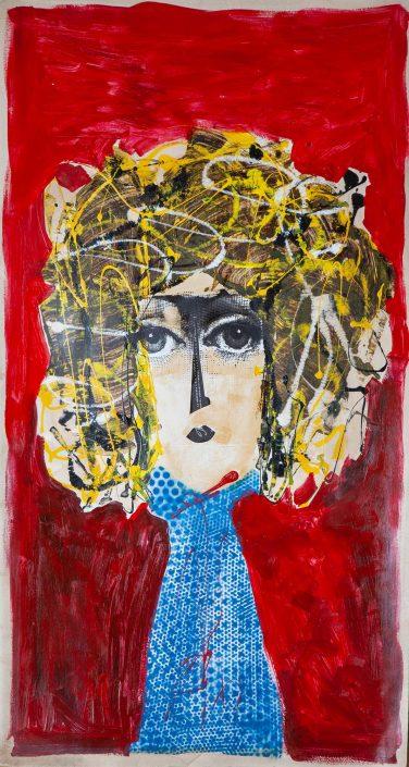 collage mujer medio tronco con pelo rubio con rulos y fondo rojo