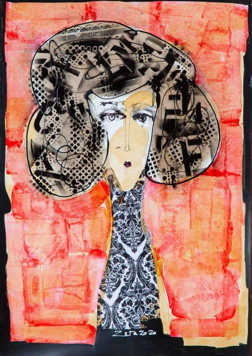 collage mujer medio tronco con pelo con stencil, vestido arabescos y fondo rojo