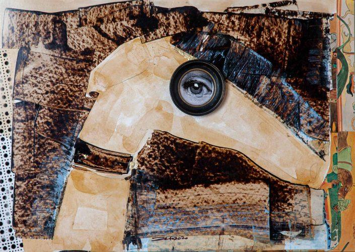 collage perro de perfil con marco circular en el ojo