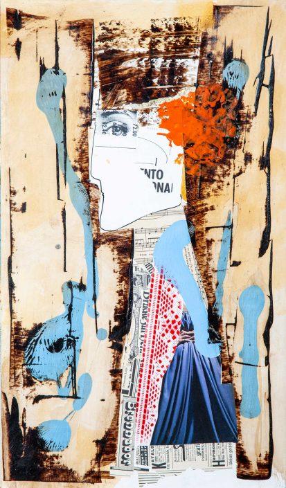 collage persona medio tronco con stencil y pelo naranja